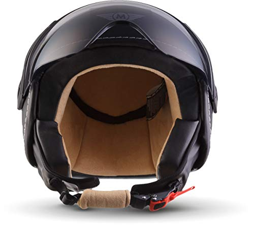 Moto Helmets H44 Leather Black · Cruiser Bobber Vintage Vespa-Helm Biker Chopper Retro Mofa Moto Helmetsrrad-Helm Jet-Helm Helmet Pilot Scooter-Helm Roller-Helm · ECE zertifiziert · inkl. Sonnenvisier · inkl. Stofftragetasche · Grau · XL (61-62cm) - 6