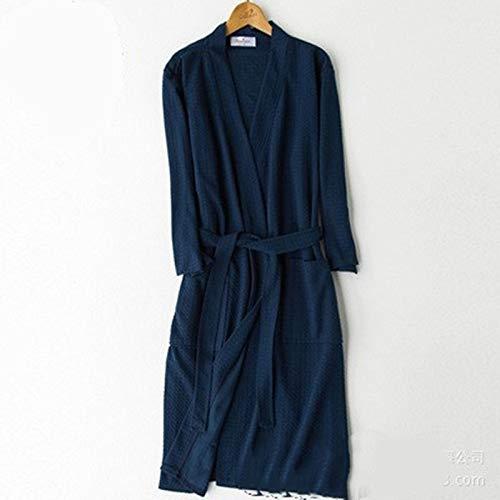 Ycxydr Schlafanzug Frühling und Sommer dünne weibliche Modelle Waffel Bademantel Nachthemd Männer und Frauen Shixia Tages koreanische Hülsen-absorbierende Bademantel Größe: M, XL, XXXL Bademantel