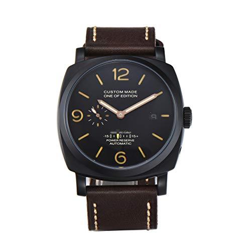 PARNIS-MM 9512 Deutsche Edition Herrenuhr Automatik-Uhr 47mm PVD-Edelstahl-Gehäuse Leder Mineralglas 5BAR Seagull ST36 Uhrwerk Gangreserveanzeige Datum