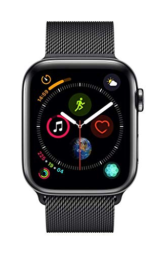 Apple Stainless Milanese Cellular watchOS - Apple Watch Series 4-44mm Space Black Stainless Steel Case with Black Milanese Loop, GPS + Cellular, watchOS 5 - MTX32AE/A