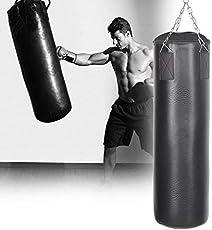 AUFUN Boxsack gefüllt schwarz 105cm*25cm,25kg-mit Halterung Drehwirbel Stahlkette-für Kinder und Erwachsene-Ideal für Boxen und Kickbox Training