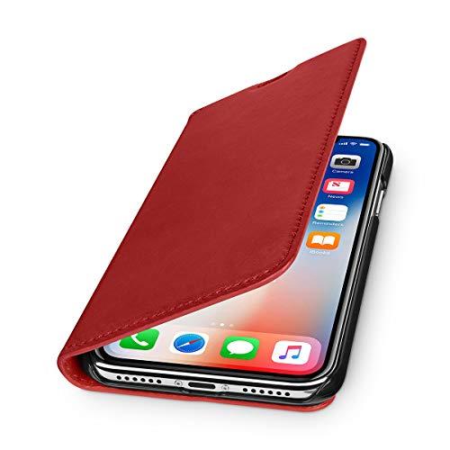 WIIUKA Echt Ledertasche - TRAVEL Nature - für Apple iPhone X & XS - DEUTSCHES Leder - Rot, kabelloses Laden Qi, Kartenfach, extra Dünn, Tasche Premium Design, Leder Hülle kompatibel mit iPhone X/XS