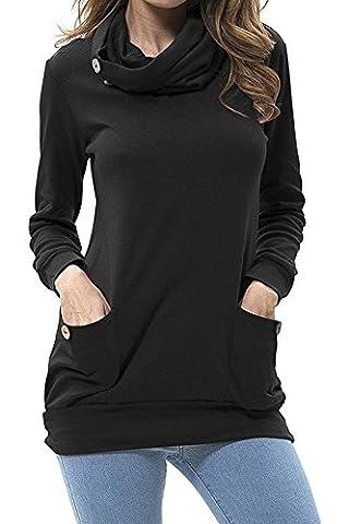 Tops à manches longues Femme Tunique Coton Casual T-shirt Slim Blouse (S, Noir)