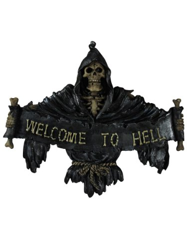 Nemesis Now Welcome to Hell Schild, 22 cm, Schwarz, 26 cm