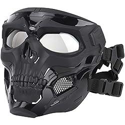 Ladepe 1 Pcs Visage Squelette Masque Airsoft Casque Complet Visage Masque CS Halloween Masque Mascarade Parti Cosplay Props Masques