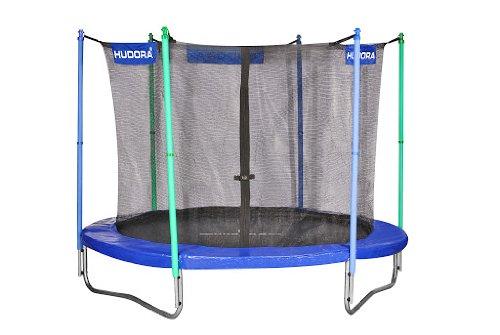 HUDORA Fitness Trampolin/Gartentrampolin, mit Sicherheitsnetz, blau/grün, 250 cm, 65208