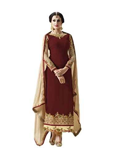 velina Readymade Anakali Ethnic Georgette Salwar Kameez Suit Indian Dress  Violet (Maroon, S-38)