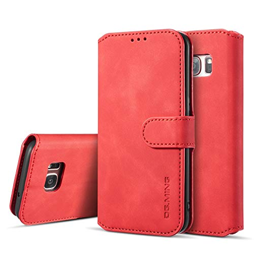 6a8904c1a3af6 UEEBAI PU Leather Case for Samsung Galaxy S7 Edge, Vintage Retro Premium  Wallet Flip Cover TPU Inner Shell [Card Slots] [Magnetic Closure] Stand ...