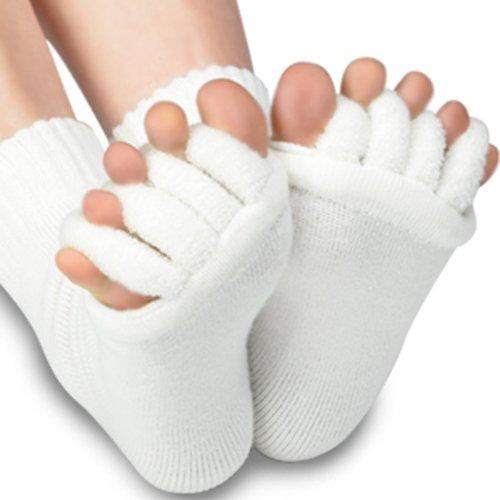 Preisvergleich Produktbild 1 Paar Zehenspreizer Wellness Socken Zehentrenner Pediküre Hallux Valgus Fuß Massage