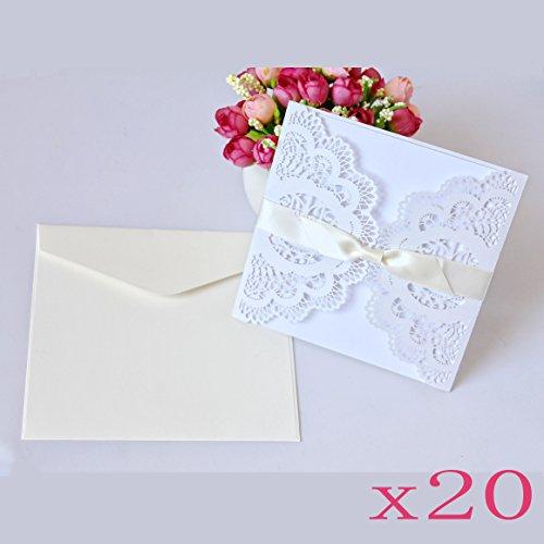 JZK® 20 x 4 in 1 Einladungs: Hohle Hülse + leere Karte + Umschlag + Bowknot, für Hochzeit, Geburtstag, Babyparty, Kommunion, Taufe, Party usw.