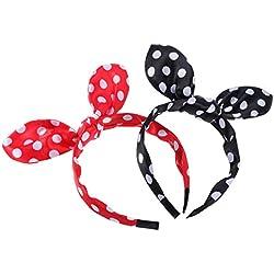 FRCOLOR diadema de lazo,venda dura del lunar Venda del pelo del alambre del bowknot para las muchachas (negro + rojo)