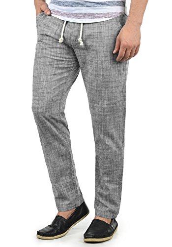 Blend Bonavo Herren Leinenhose Sommerhose Lange Stoffhose In Leinen-Optik Aus 100% Baumwolle Regular Fit, Größe:M, Farbe:Black (70155)