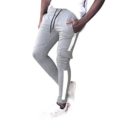 Celucke Herren Jogginghose Cargohosen Trikot-Trainingshose mit Seitenstreifen und Seitentaschen Slim Fit (Cashmere Schal Skinny)