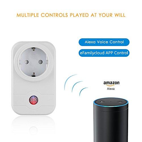 AOZBZ Wifi Smart Steckdose Alexa Amazon Echo/Echo Dot und App Steuerung, Funk Intelligente Switch Socket Stecker Smartphone Steuerung für IOS und Android für Haus und Büro Ferngesteuert ( Unterstützung mit 2,4G WLAN )