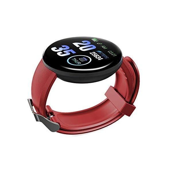 Minoni Smartwatch, Fitness Pulsera Reloj Completo Touch Screen Fitness Reloj IP68 estanco Fitness Tracker Sportuhr con podómetro Pulsuhren cronómetro para señoras señores Smart Watch (Rojo) 2