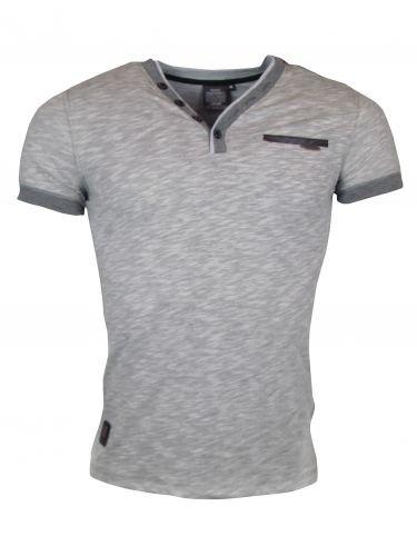 T-Shirt - mit V-Kragen - grau Grau
