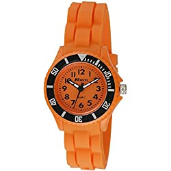Ravel Children's Easy Read Quartz Watch with Orange Dial Analogue Display and Orange Silicone Strap R1802.8