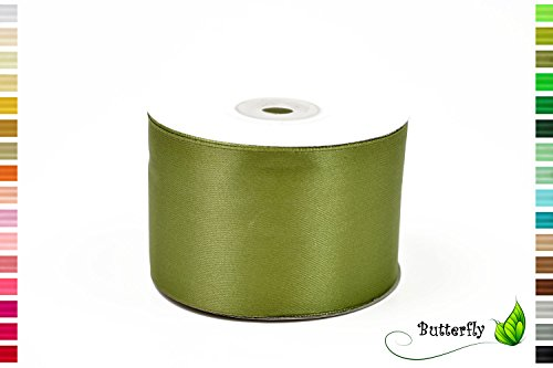 Creativery 25m Rolle Satinband 50mm olivgrün Olive // Schleifenband Deko Band Geschenkband Dekoration Hochzeit Taufe Geburtstag Dekoband einseitig 5cm