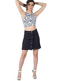 PILOT® Women's Patch Pocket Button Front Mini Skirt in Denim Blue