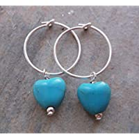 Sterling Silver Hoops With Turquoise Hearts Charms