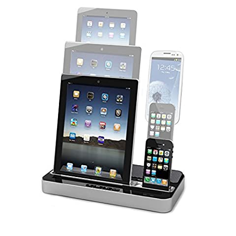 Dual Docking Station Charging and Audio Stand Multipurpose Charge Stand with Speaker for iPhone 7/6/6s/5/4/4S iPad 2/3/4 iPod Touch Samsung Galaxy Note HTC Android Smartphone (Silver)