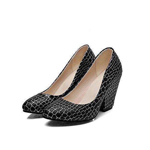 VogueZone009 Femme Matière Mélangee Tire Rond Stylet Couleur Unie Chaussures Légeres Noir