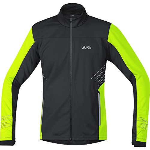 GORE Wear Winddichte Herren Lauf-Jacke, R5 GORE WINDSTOPPER Jacket, L, Schwarz/Neon-Gelb, 100153