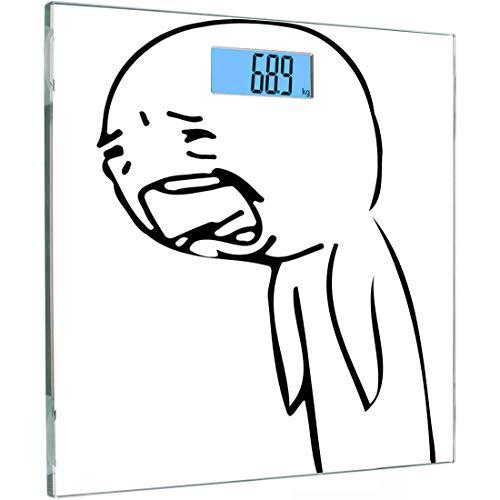 Ultra Slim Hochpräzise Sensoren Digitale Körperwaage Humor Gehärtetes Glas Personenwaage, Sad Guy Verärgert Weinen Beliebte Wut Comic-Generator-Stil Online-Emoji-Druck, Schwarzweiß, Bac