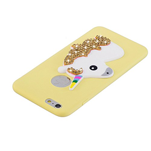 Coque iPhone 6 Plus , Etui Housse Bling Glitter Strass Licone Motif Case Cover en Silicone Gel TPU Flexible Souple Housse de Protection pour Apple iPhone 6 Plus (5.5 pouces) Enveloppe Coque Soft Slim  Jaune