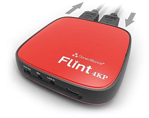 ClonerAlliance Flint 4KP, 4K Passthrough und Live-Kommentar-Video-Capture-Gerät. Ultra Low Latenz. 1080p 60fps für Spielkonsolen, Camcorder, DSLR