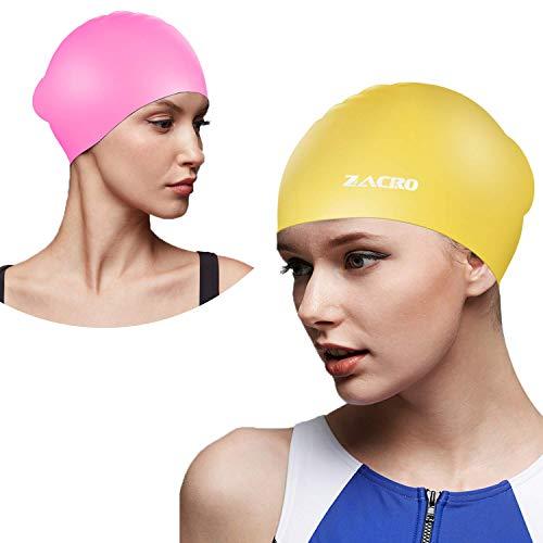 Zacro 2 Stück Schwimmkappe wasserdichte Silikon Schwimmkappe Gelb und pink Schwarz Blau