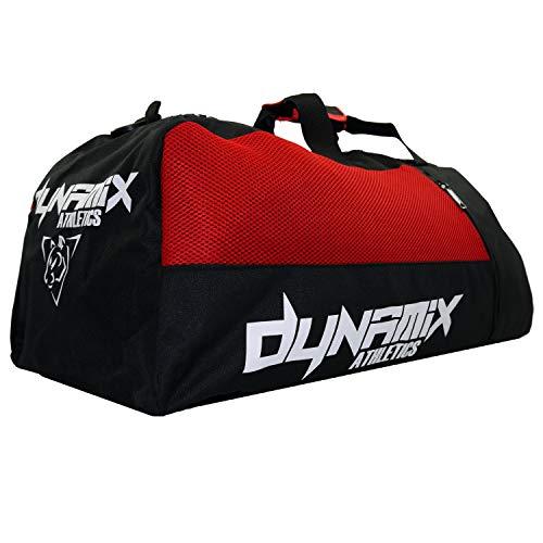 Dynamix Athletics 2in1 XL Gear Bag Division Schwarz/Rot - Große Trainingstasche Gym Tasche für Fitness Muay Thai MMA Reisen Boxen - Hybridtasche, auch als Rucksack verwendbar -
