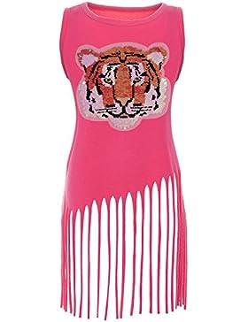 BEZLIT - Vestido - Túnica - Básico - Cuello redondo - Sin mangas - para niña rosa 8 años