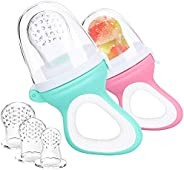 2 PCs Baby Food Fruit Feeder Pacifier with 3 PCs Replacement Silicone Pouches Fresh Food Teething Toy for Todd