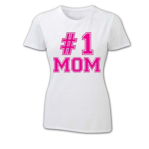 T Shirt Donna Idea Per La Mamma Number One BIANCA Fucsia