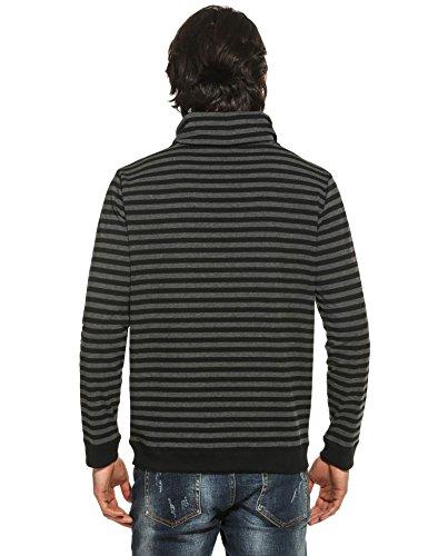 ZEARO Herren Casual Langarm Cowl Collar Gestreift Pullover T-Shirt Top Schwarz