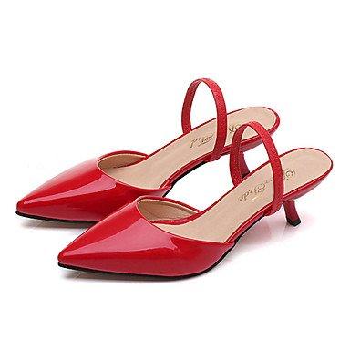LvYuan Da donna Pantofole e infradito Comoda Suole leggere PU (Poliuretano) Estate Casual Formale Comoda Suole leggere Kitten Rosso RosaMeno di ruby