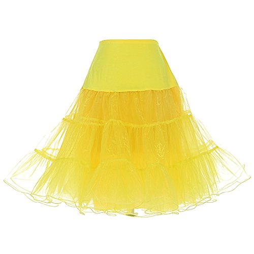 Dresstells 1950 Petticoat Reifrock Unterrock Petticoat Underskirt Crinoline für Rockabilly Kleid Yellow S (Mädchen In Gelben Kleid)