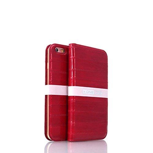Onex One-Schutzhülle/Schutzhülle für iPhone 6Plus/6S Plus Leder von Aal-Echt Produkt außergewöhnliches Häkelmütze Handarbeit Beanie-seitlich aufklappbar mit Tür Karten/Banknoten -