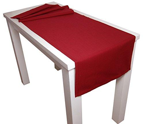 beties Farbenspiel Tischläufer XL ca. 40x220 cm in interessanter Größen- und Farbauswahl 100% Baumwolle für eine fröhlich Stimmung Uni Farbe (Karmin-rot)