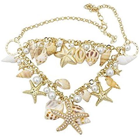Collar - SODIAL(R)Estilo del oceano Multi estrellas de mar Estrella de mar Caracola marina Concha Perlas Collar de cadena de estrellas de mar Dorado