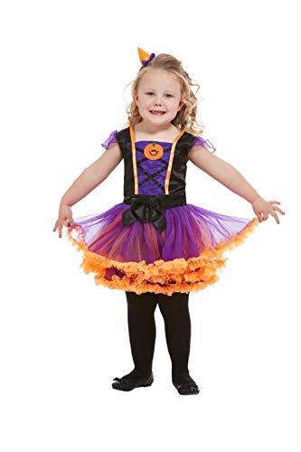 Smiffys 50795T1 Kleinkind Kürbis Hexe Kostüm für Mädchen, Orange, Alter 1-2 Jahre (Kleinkind Make-up Hexe)