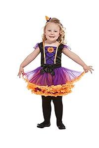 Smiffys 50795T1 Disfraz de bruja de calabaza para niños, niñas, naranja, edad de 1 a 2 años