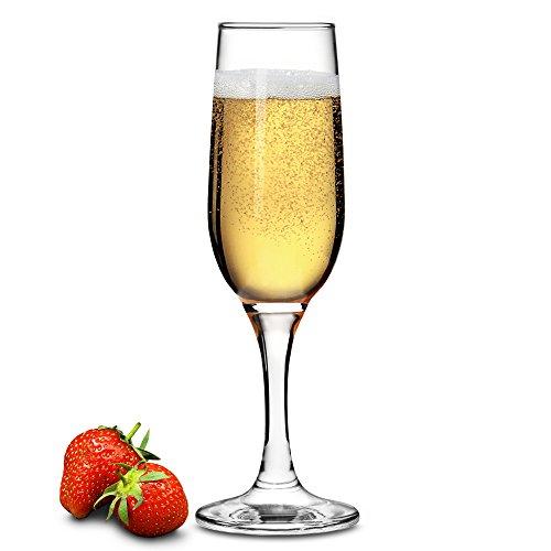 Lot de 6 flûtes à champagne et prosecco, 220 ml, boîte cadeau