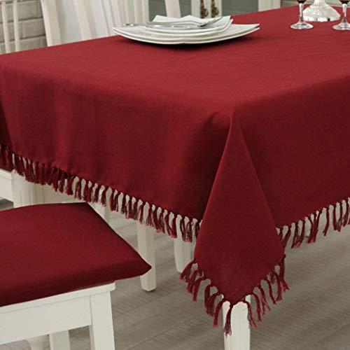 GUANT Home Borla Algodón y Lino Vino Rojo Color sólido Tabla de café Mesa de café Tela Resistente al Desgaste y Sucio Cómodo Toallita