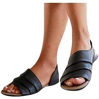 Übergroßer Sandalen für Damen/Dorical Frauen Sommer Retro-Peep-Toe-Sandalen mit seitlicher Abdeckung Damenschuhe Mode einfache PU-Leder Schuhe rutschfest 35-43 EU Ausverkauf (38 EU, Z01-Schwarz)