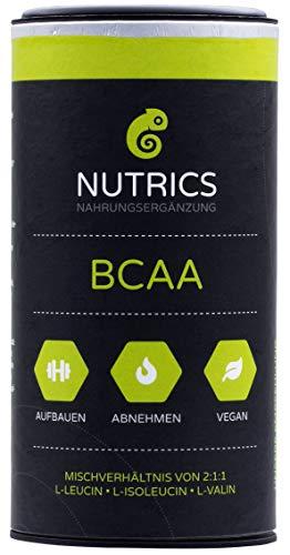Nutrics BCAA   100% Vegan   120 Kapseln   Verhältnis 2:1:1   Hergestellt in Deutschland   Aminosäuren Sportlerpackung