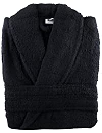 "Huge Massive 100% Cotton Terry Towelling Bathrobe + Matching Belt - XXXL / Chest Size 67""- 70"" (Black)"