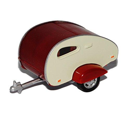 Anhänger Wohnwagen mit öffnender Klappe Dunkel Rot Beige 1/43 Cararama Modell Auto (Beige Klappe)
