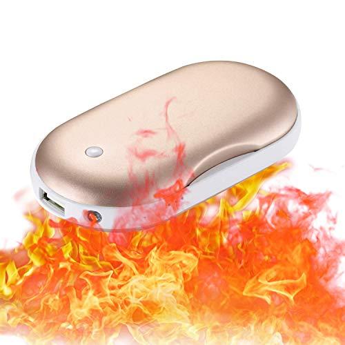 CableClub Handwärmer USB Wiederaufladbare Powerbank mit LED Taschenlampe, Größere Kapazität Tragbare USB-Ladegerät 5200MAH Power Bank Externe Akku für Smartphones, Massage-Vibrationsfunktion(Gold) …